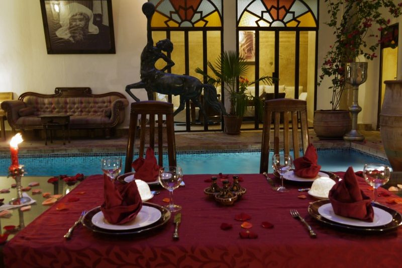 Fine dining and evening entertainment at Riad El Zohar, overlooking the stunning pool