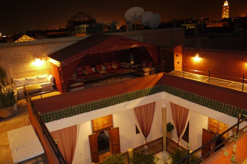 Relax on our rooftop lounge with stunning views of Marrakech