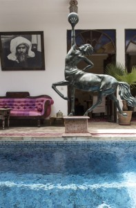 A view of the pool in the central courtyard at Riad El Zohar, Marrakech