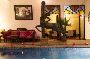 A look at our pool at night in Riad El Zohar