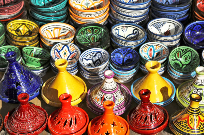 Multicoloured pottery on sale